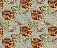 birds_making_a_nest_in_skull fabric by nadiiaz on Spoonflower - custom fabric