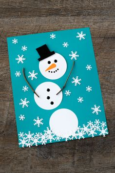 Paper Snowman Art easy craft for kids Kids of all ages will enjoy using our printable snowman pattern, sticks, felt, and a snowflake paper punch to create a simple and fun paper snowman craft. Christmas Arts And Crafts, Winter Crafts For Kids, Diy Christmas Cards, Crafts For Kids To Make, Christmas Activities, Kids Christmas, Holiday Crafts, Craft Kids, Christmas Trees