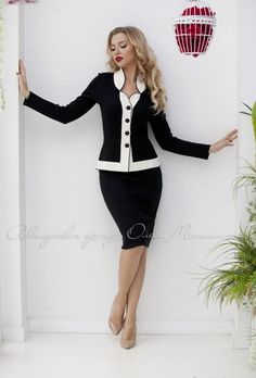 "Elegant knitted black suit ""Giselle"" classic combination of black and white! The perfect dress code for a business lady! Mode Outfits, Skirt Outfits, Casual Outfits, Maxi Dresses, Hijab Fashion, Fashion Outfits, Woman Outfits, Suits For Women, Clothes For Women"