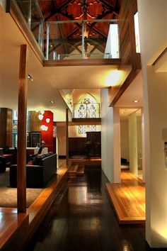 """Holy."" church conversion Chapel Conversion, Church Conversions, Wood Interior Design, Exterior Design, Interior And Exterior, Up House, New Living Room, Better Homes And Gardens, Lofts"