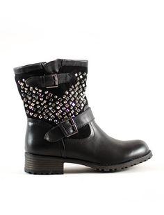 ΜΠΟΤΑΚΙ ΜΕ ΔΙΑΜΑΝΤΑΚΙΑ Bellisima, Biker, Boutique, Boots, Fashion, Crotch Boots, Moda, Fashion Styles, Shoe Boot