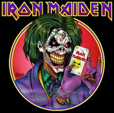 Derek Riggs - Eddie the Head - Iron Maiden (Joker) Arte Heavy Metal, Heavy Metal Music, Heavy Metal Bands, Music Artwork, Metal Artwork, Rock Posters, Band Posters, Rock Bands, Iron Maiden Mascot