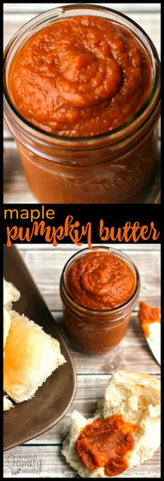 This Maple Pumpkin Butter Spread is about to change your life. It is so yummy and easy to make!  Perfect for spreading on dinner rolls hot out of the oven. #pumpkinbutter #pumpkinspread via @favfamilyrecipz