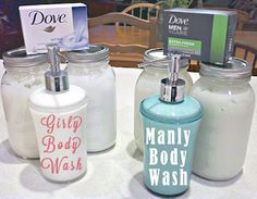 DIY Dove liquid body wash: 1 bar of grated soap, microwaved till melted + 2 cups hot water.  Stir over medium heat until COMPLETELY melted-may take a while.  Pour into glass jar or bowl to cool.  Will thicken over 24 hours.  Add more water if it's too thick for you.  Pour into plastic bottle for shower use.