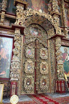 Doors in St. Basil's Cathedral Russia