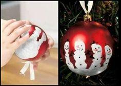 Handprint kids snowman Christmas ornament craft