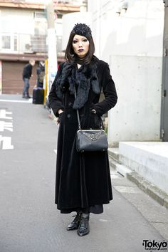Awabimeshi's dark gothic looks always catch our eye in #Harajuku. Here, she's wearing a vintage velvet coat with a Kinji (resale) dress, a Jean Paul Gaultier purse, and accessories from the Japanese brands Abilletage & Alice Auaa. #tokyofashion   #street snap