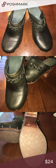 Uggs Leather Studded Mules Black leather studded mules. Braided cord accent. Lower footbed has wool lining. Great condition with exception to miner damage on the sole os the right shoe (see pics). UGG Shoes Mules & Clogs