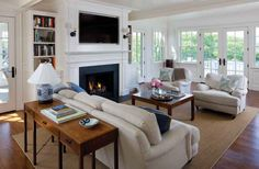 4 Eye-Opening Cool Tips: Fireplace Winter Snuggles faux fireplace with tv above.Fireplace And Mantels Focal Points marble fireplace minimal.Rock Fireplace Two Story. Traditional Family Rooms, Home, Beach House Living Room, Family Room, Great Rooms, Fireplace Bookshelves, Contemporary Fireplace, Fireplace Surrounds, Cottage Living Rooms