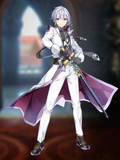 Screenshot: Epic Seven - Characters Fantasy Sword, Anime Fantasy, Dark Fantasy Art, Hot Anime Boy, Anime Art Girl, Anime Guys, Fantasy Character Design, Character Inspiration, Character Art
