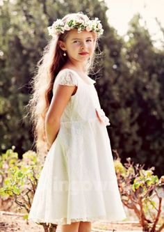 6c34a66fd7 Lace White Open Back Bateau Ruched Short Sleeves A-line Knee Length Flower  Girl Dress
