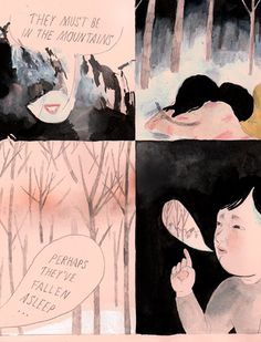 Comic by Aidan Koch. I like that it is doesn't use white at all and the main colour is unusually used.