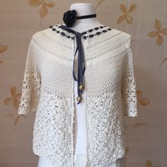 RESERVED    Cotton hand crocheted cardigan by vintagecaf on Etsy https://www.etsy.com/listing/237241327/reserved-cotton-hand-crocheted-cardigan