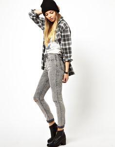 gray acid wash jeans plaid shirt beanie