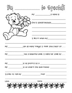 """A Mother's Day printable for your students to fill out and color. Kids can name any female family member or friend, so it's perfect for situations in which not all students have """"mothers. Mother's Day Activities, Activity Days, Holiday Activities, Dad Day, Mom And Dad, All About Mom, Daisy Girl Scouts, Grandparents Day, Mother And Father"""