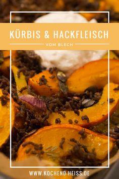 Kürbis und knuspriges Rinderhack mit Fetacreme - eine leckere herbstliche Kombination - in 30 Minuten auf dem Tisch! Kraut, Feta, Food To Make, Recipes, Pickling, Ground Meat, Diy Crafts, Table, Kochen