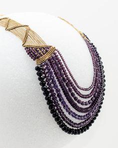 7 string macrame necklace using shades of by MacrameStudio12.