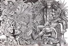 Mexican Aztec Art | Aztec Dream by Mouse Lopez Mexican Indians Black White Canvas Art