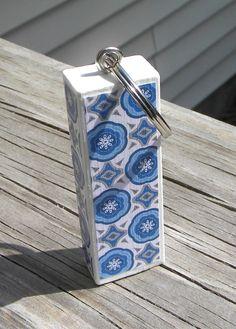 Repurposed Jenga Block Keychain Blue and White Pattern