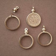 1 cent USA Coin Holder Bezel ~ for charm necklace display Pk//10 Canadian Penny