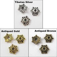 Tibetan Antique SILVER FLOWER Bead 8mm Caps by HalfPennyBoutique, $3.49  https://www.etsy.com/listing/118673258/tibetan-antique-silver-flower-bead-8mm