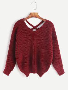 Burgundy Double V Neck Criss Cross Sweater