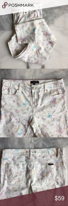 "Anthropologie Sanctuary White Floral Skinny Jeans Stunning off white skinny fit denim jeans with pastel print jeans! Sanctuary is an Anthropologie brand. Hits the Ankle. Waist 16.5"" / Hips 17"" / Inseam 29"" Anthropologie Jeans Skinny"