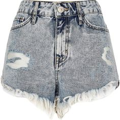 River Island Light acid wash frayed denim shorts (145 PLN) ❤ liked on Polyvore featuring shorts, bottoms, short, pants, denim shorts, women, ripped denim shorts, short shorts, frayed denim shorts and destroyed jean shorts