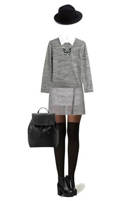 """""""Black & Grey"""" by lorantin ❤ liked on Polyvore featuring Topshop, Steffen Schraut, Eugenia Kim, MANGO and Andrew Hamilton Crawford"""