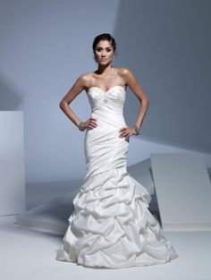 Mermaid Sweetheart Neckline Strapless with Empire Waist Ruffles and Beading Lace up Taffeta Wedding Dress