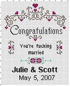 Youre fucking married! Comes with an alphabet for you to customize any way you want! Modern cross stitch pattern is designed on 14 count Aida. It will run about and would look great in an frame, or larger with a m Wedding Cross Stitch Patterns, Modern Cross Stitch Patterns, Cross Stitch Designs, Cross Stitching, Cross Stitch Embroidery, Embroidery Patterns, 8bit Art, Just In Case, Sewing Projects