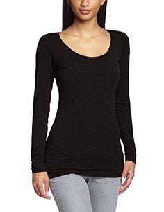 Ichi Damen Langarmshirt N JENA LLS, Einfarbig, Gr. 36 (Herstellergröße: S), Schwarz (10001 Black)