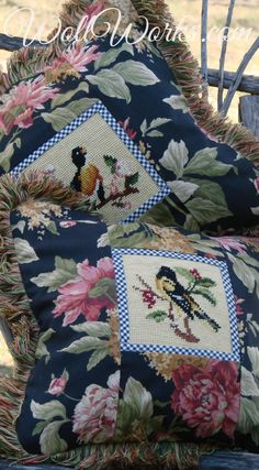 Salvaged Needlepoint Pillow Slips ~http://wollworks.com/category_1/-Pillow-Slips.htm