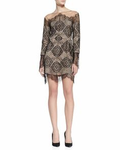 Long-Sleeve+Scalloped+Lace+Dress+by+For+Love+&+Lemons+at+Neiman+Marcus.