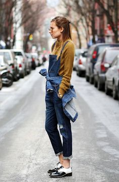 Time for Fashion » Style Consultancy. Ochre sweater+denim overall+denim jacket+black and white blucher shoes+sunglasses. Fall Casual Outfit 2017