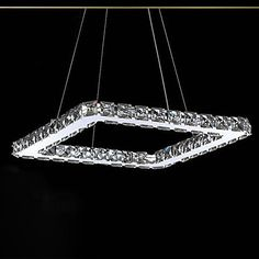 LED Crystal Chandelier, Modern Square Stainless Steel Plating – USD $ 99.99