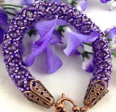 Amethyst Purple Lavender Copper Handmade Beaded Net Rope Bracelet | jazzitupwithdesignsbynancy - Jewelry on ArtFire