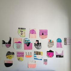 Paper Collage Installation// suits, guides, buns, combs www.sarahboytsyoder.com Sarah Boyts Yoder