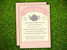 Bridal Shower / Tea Party / Kitchen Shower / Baby Shower / Birthday  - Vintage Pink Stripes Lace Teapot Invitation Double Sided Printable on Etsy, $16.83 AUD