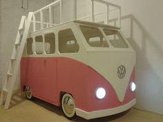 Browse our magical selection of unique children's themed beds in our online store. Customise our bed designs by selecting add-ons, colours and sizes. Volkswagen, Volkswagon Van, Vw T1, Awesome Bedrooms, Cool Rooms, Van Bed, Bus Girl, Bedding Inspiration, Dreams Beds