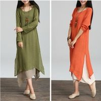 Fall Winter 2015 Long T-shirt Dresses for Large Size Women XXL Irregularity High Low Side Slit Dress Maxi Long Casual Woman