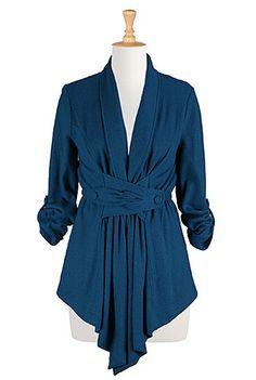 Wool blend button-tabbed jacket