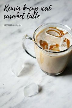 My no fail iced caramel latte recipe for your Keurig machine. You won't believe how easy it is. Iced Caramel Latte Recipe, Iced Caramel Coffee, Best Iced Coffee, Iced Latte, Coffee Latte, Espresso Coffee, Coffee Shop, Iced Caramel Latte Starbucks, Iced Coffee Keurig