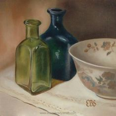 Still Life in Oils, Paintings by Elaine Brady Smith. Still Life in Oils, Daily Paintings Be Still, Still Life, Blue Bottle, Bottles, Oil, Green, Painting, Painting Art