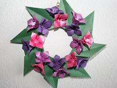 Items similar to Origami Flower Wreath.Home decor. on Etsy – Origami 2020 Origami Wreath, Origami Ornaments, Origami Paper Art, Origami Flowers, Paper Flowers, Useful Origami, Origami Easy, Origami Tutorial, Wall Decor