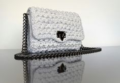 Silver Grey Handmade Crochet Bag !!!!