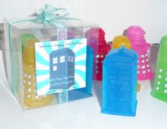 Daleks Have The Phone Box DOCTOR WHO 4 Pc TARDIS and Daleks Handmade Glycerin Soap Assorted Fruity Scents
