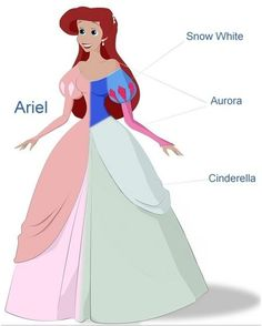 Not many people are aware that Ariel's pink evening gown was directly inspired by all three Disney Princesses prior. Her puffed shoulders are the same design of Snow White's dress. The shoulder line and long sleeves come from Aurora. Then the bust cut, large skirt and overlaying fabric on the sides are from Cinderella's ball gown. The soft pink color was chosen not from Aurora's dress but Cinderella's original pink dress that got destroyed by her stepsisters.