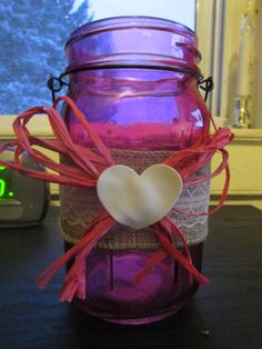~ Pink Valentine Mason jar wrapped with burlap/lace ribbon, raffia, and heart sticker  ~ Diy ~ valentine decor ~ valentine crafts ~ Country ~ Shabby chic ~ mason jar crafts ~ mason jar decor