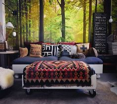 choose better scenery, and make your own Forest Wall Mural with transfer paper, and a sheet.